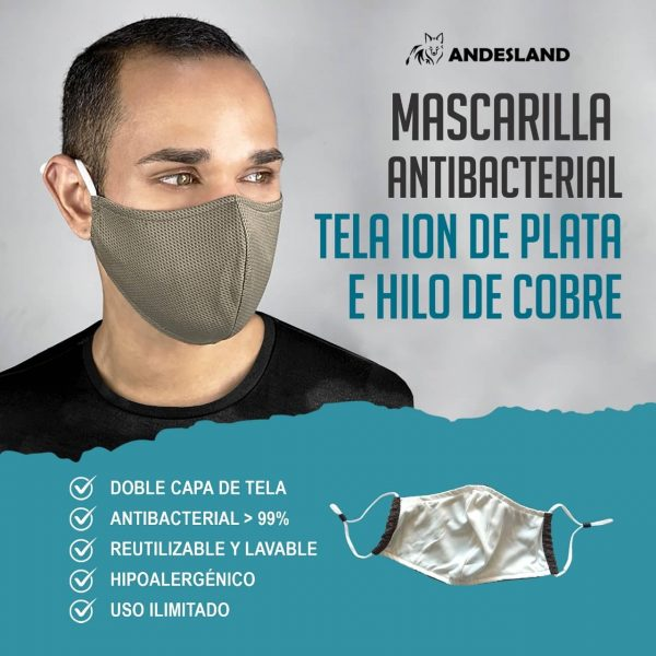 Mascarilla Antibacterial Reutilizable Tela Ion de Plata e Hilo de Cobre x 6 unidades