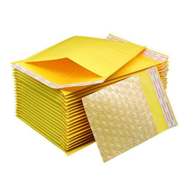 50 Sobres Papel Kraft Amarillo Burbujas Autosellante 15x18cm