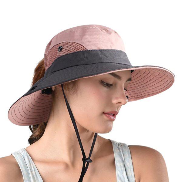 Sombrero Bonnie Ala Ancha Plegable con Cordon SunShade